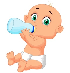 Cute baby cartoon drinking milk from bottle vector image vector image