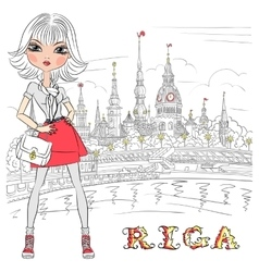 Cute girl in Riga Latvia vector image vector image