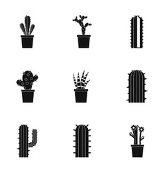 Desert cactus icon set simple style vector