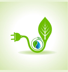 Eco energy concept with leafplug and water drop vector