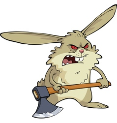 evil bunny with an ax vector image vector image