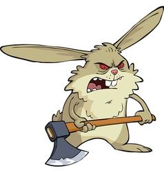 evil bunny with an ax vector image