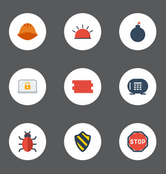 Flat icons lock road sign hardhat and other vector