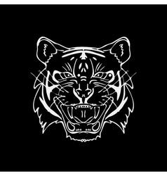Hand-drawn pencil graphics tiger head Engraving vector image vector image