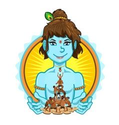Krishna janmashtami dahi handi vector