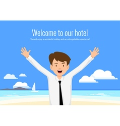 Male manager of the hotel welcomes its guests vector