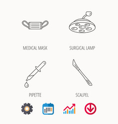 Medical mask scalpel and pipette icons vector
