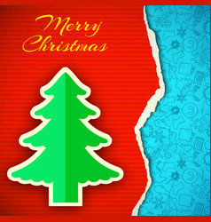 merry christmas paper poster vector image vector image