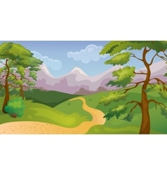 Pines forest game background vector