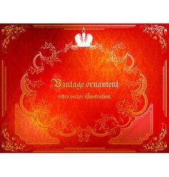 Red rustic vintage frame vector