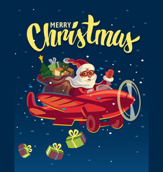 Santa claus flying on airplane with presents vector