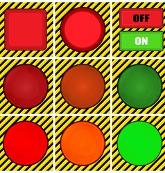 set of round square and rectangular buttons on the vector image