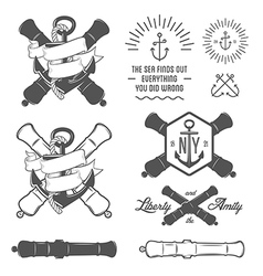 Set of vintage nautical labels and design elements vector