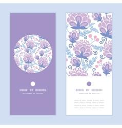 Soft purple flowers vertical round frame vector