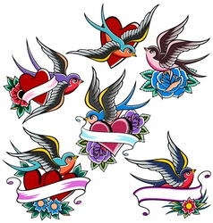 Swallow tattoo set vector