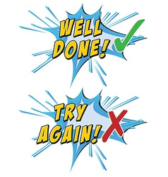 Try again and well done vector image vector image