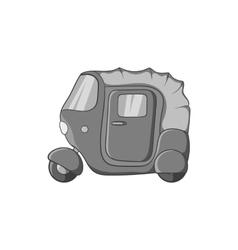 Tuk tuk taxi icon black monochrome style vector