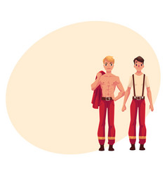 Two firefighters firemen at rest with naked vector