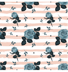 vintage roses pattern hand-drawn blue roses vector image vector image