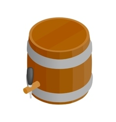 Wooden barrel isometric 3d icon vector image