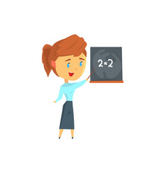 young female teacher character on lesson at vector image
