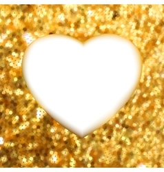 Gold heart frame vector