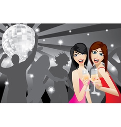 Two women smiling with beverage glasses in a night vector