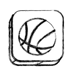 Monochrome sketch of square button with basketball vector