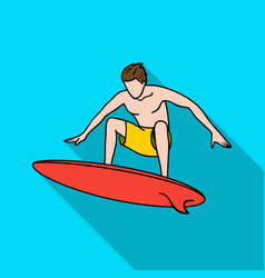 Surfer in action icon in flate style isolated on vector
