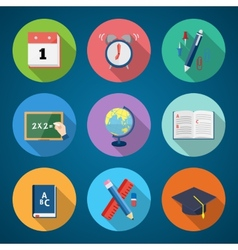 Flat style back to school stationary icon set vector