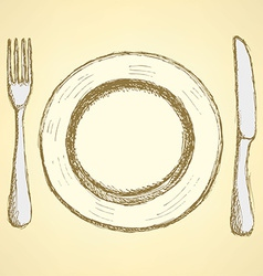 Sketch plate knife and fork in vintage style vector
