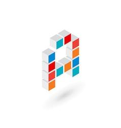 3d cube letter a logo icon design template vector