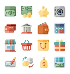 Money finance shopping flat icons vector