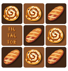Tic-tac-toe of bread and cinnamon roll vector