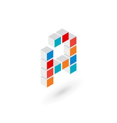 3d cube letter A logo icon design template vector image