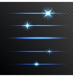 Flare glowing lights and stars set on transparent vector