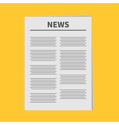 Newspaper icon flat design isolated yellow vector