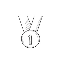 Medal for first place sketch icon vector