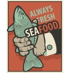 Seafood with fish in hand vector