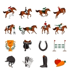 Horse rising sport icons vector