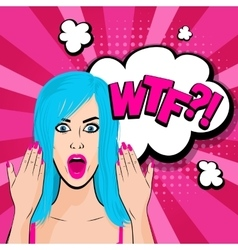 Angry young blue hair girl pop art vector