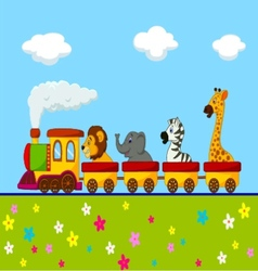 Animal train cartoon vector image