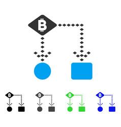 Bitcoin algorithm scheme flat icon vector