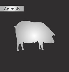 black and white style icon of pig vector image vector image