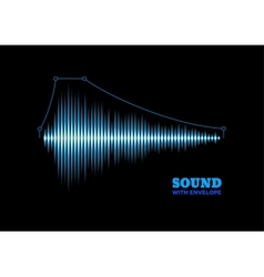 Blue shiny sound waveform with envelope vector image vector image