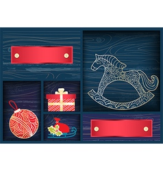 Box of christmas decorations vector