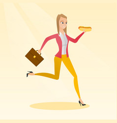 Business woman eating hot dog vector