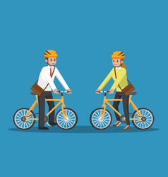 businessman and businesswoman riding bicycle vector image vector image