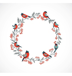 Christmas wreath with birds and ashberry vector image vector image
