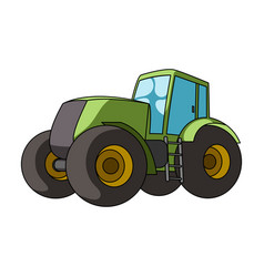 combine harvesting green tractor with large vector image